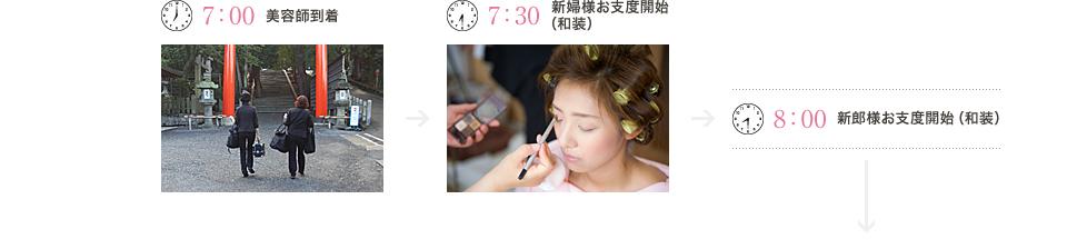 7:00美容師到着、7:30新婦様お支度開始(和装)、8:00新郎様お支度開始(和装)